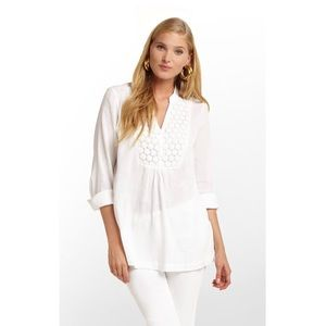 Lilly Pulitzer White Freya Embroidered Tunic Top